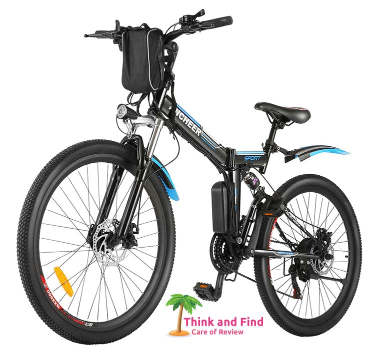 ANCHEER 26 Folding Electric Mountain Bike, Electric Bike with 36V 8Ah Lithium-Ion Battery, Premium Full Suspension and 21 Speed Gears